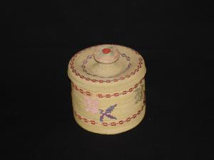 A fine Attu basket with cover and flower design
