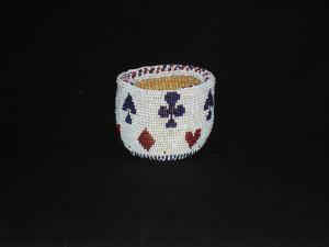 A Modoc casino beaded dice cup
