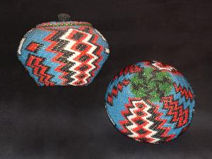 A Paiute beaded basket with cover