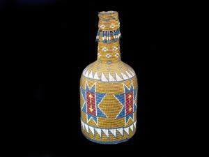 A Pit River beaded bottle