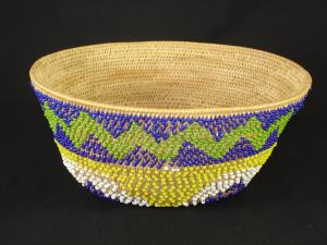A Pomo beaded bell-shaped basket