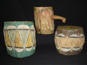 A group of three Pueblo drums