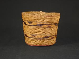 A Tlingit basket with horizontal pattern and openwork