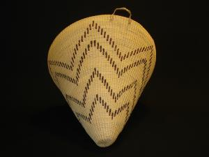 A Washoe coiled polychrome burden basket