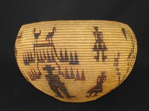 A Washoe degikup shaped pictorial polychrome basket