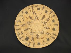 A large Yokuts polychrome gambling tray