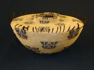 A fine and large Yokuts polychrome treasure basket