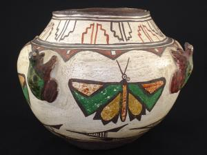A wonderful Zuni polychrome frog and butterfly pottery jar