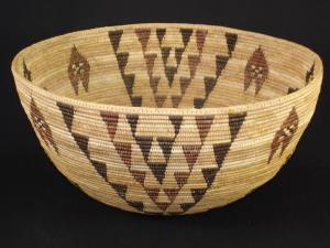 A Paiute polychrome coiled basket by Maria Harry