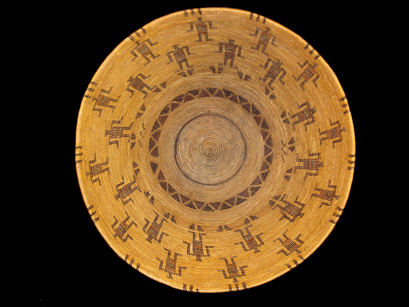 A Yokuts pictorial figured polychrome bowl by Mrs. Dick Francisco